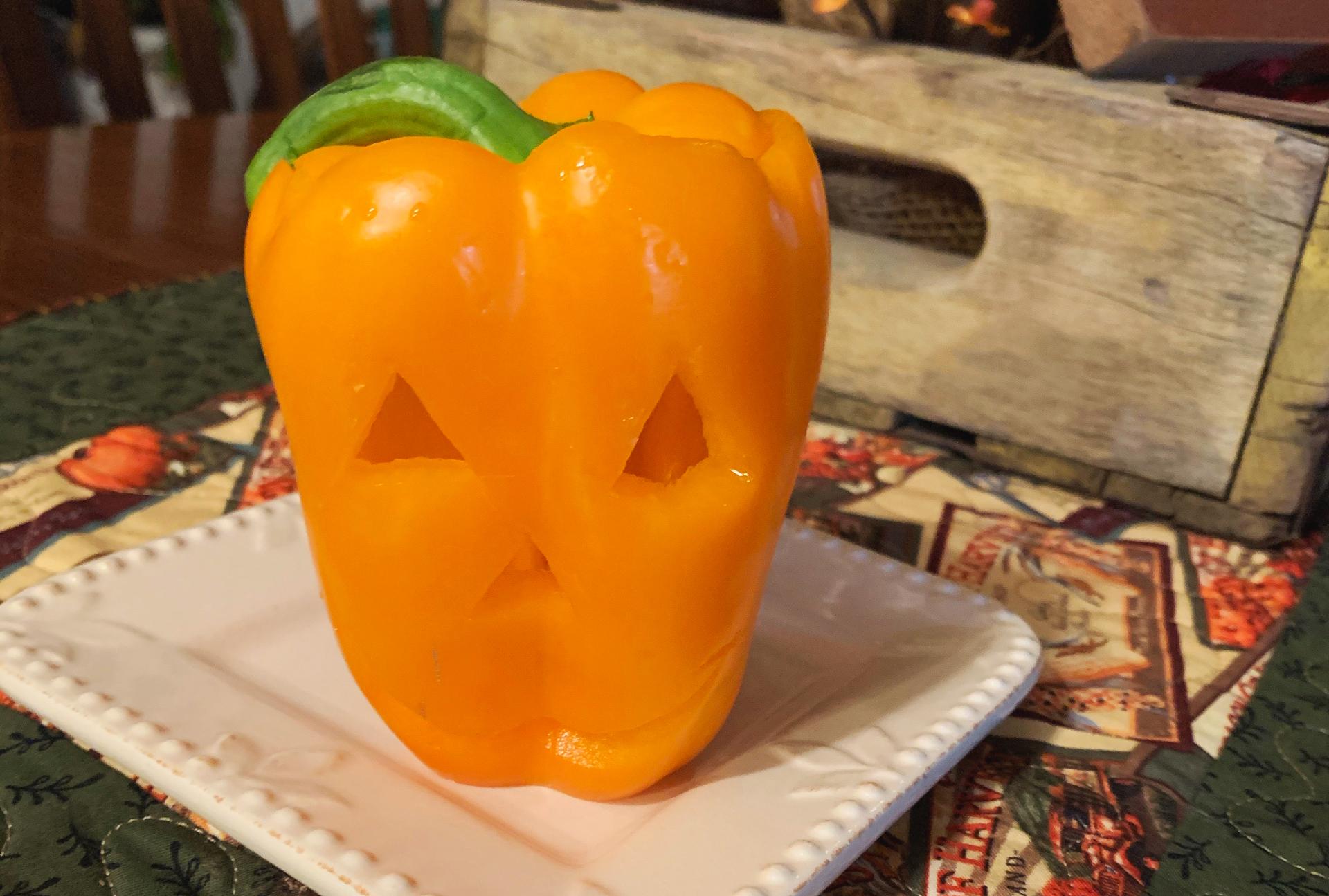 Stuffed Jack-O-Lantern Peppers 1